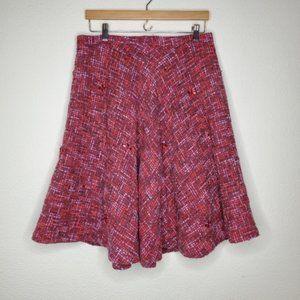 Anthro Elevenses Pink Purple Beaded Wool Skirt